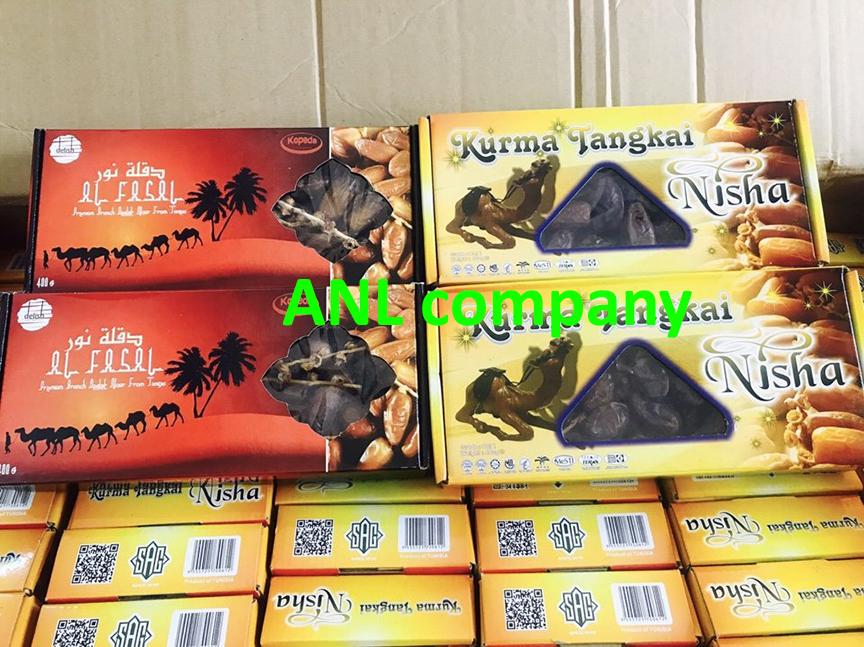 trái chà là rời đóng hộp có thương hiệu, với các thương hiệu phổ biến của Ai Cập, Tunisia. Giá sỉ, đóng gói theo hộp do ANL cung cấp.
