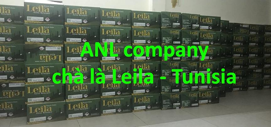 chà là nguyên cành đóng hộp, thương hiệu Leila là thương hiệu chà là nguyên cành nổi tiếng tại Tunisia