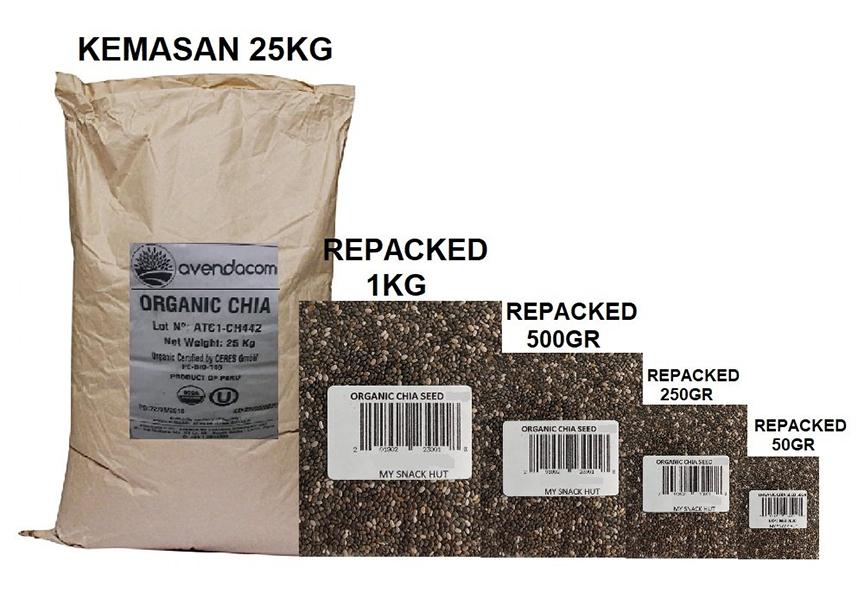 sản phẩm hạt chia giá sỉ nguyên bao, hàng xá, dạng nguyên liệu, được đóng gói theo quy cách 25kg/ bao