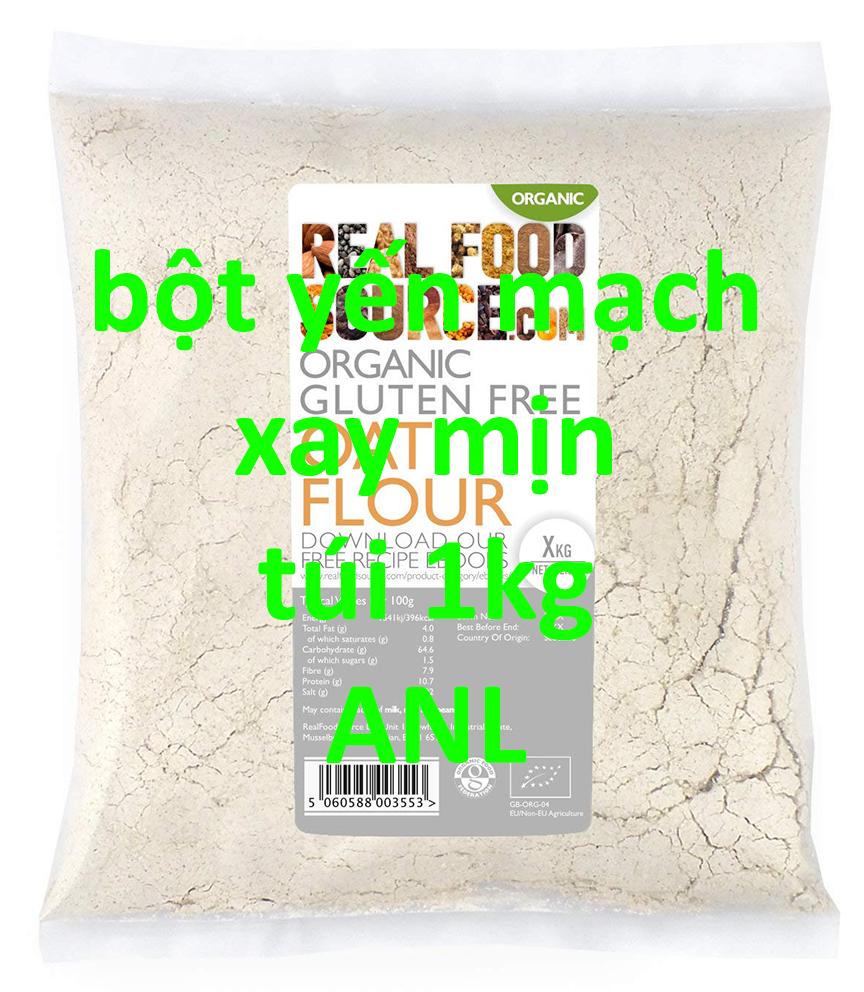 bột yến mạch xay mịn được đóng gói thành túi 1kg, có tem nhãn hoặc không có tem nhãn. được xay mịn từ hạt yến mạch nhập khẩu bởi ANL. tươi mới, có kiểm định nhà nước, không ẩm mốc