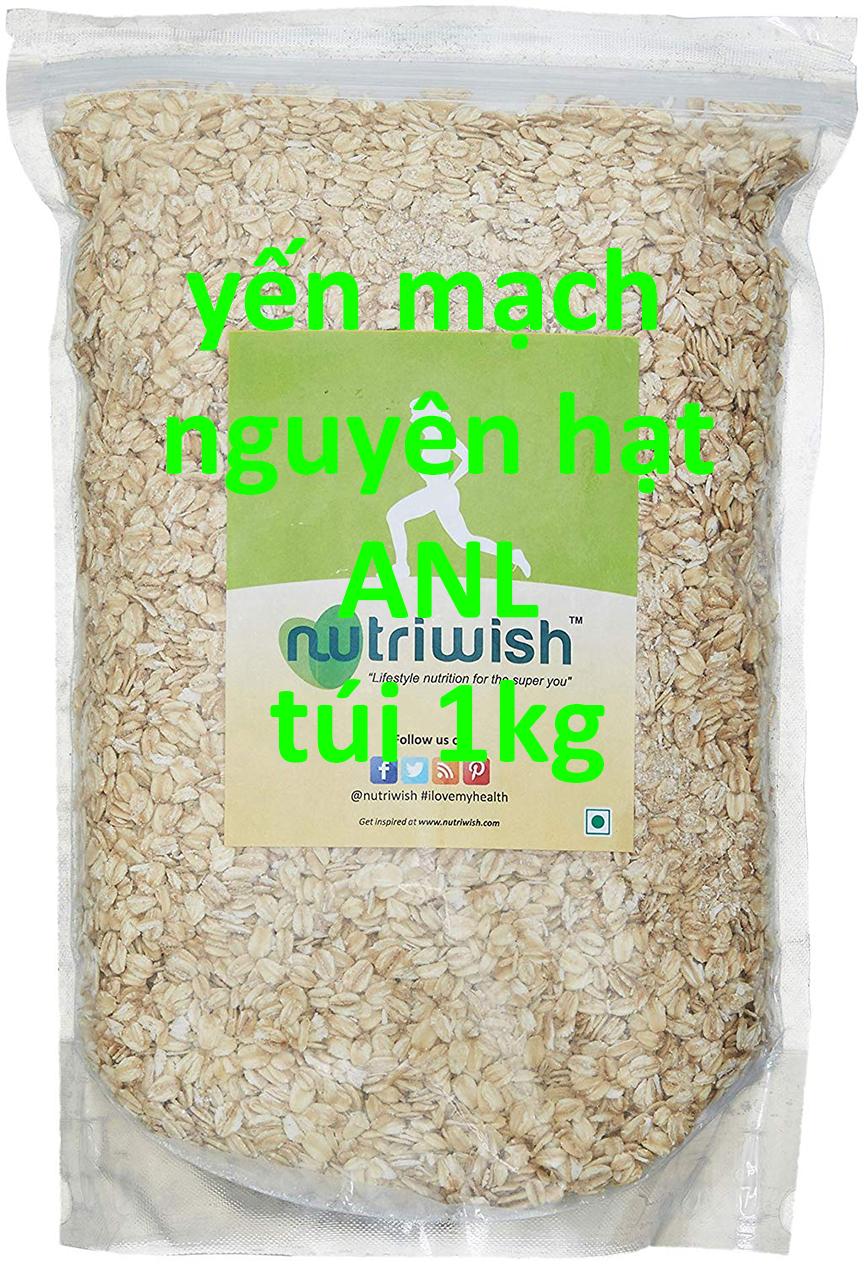 sản phẩm yến mạch nguyên hạt giá sỉ được đóng ra túi lẻ 1kg, có tem nhãn hoặc không có tem nhãn theo yêu cầu của Quý khách