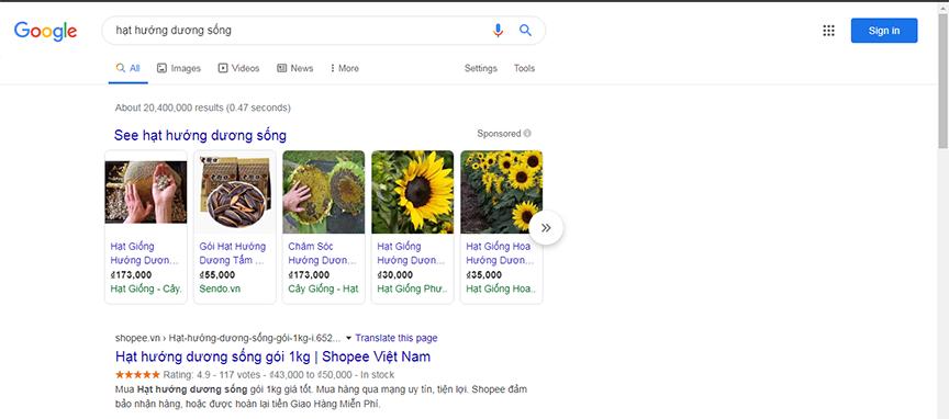 mua hạt hướng dương sống trên internet với google