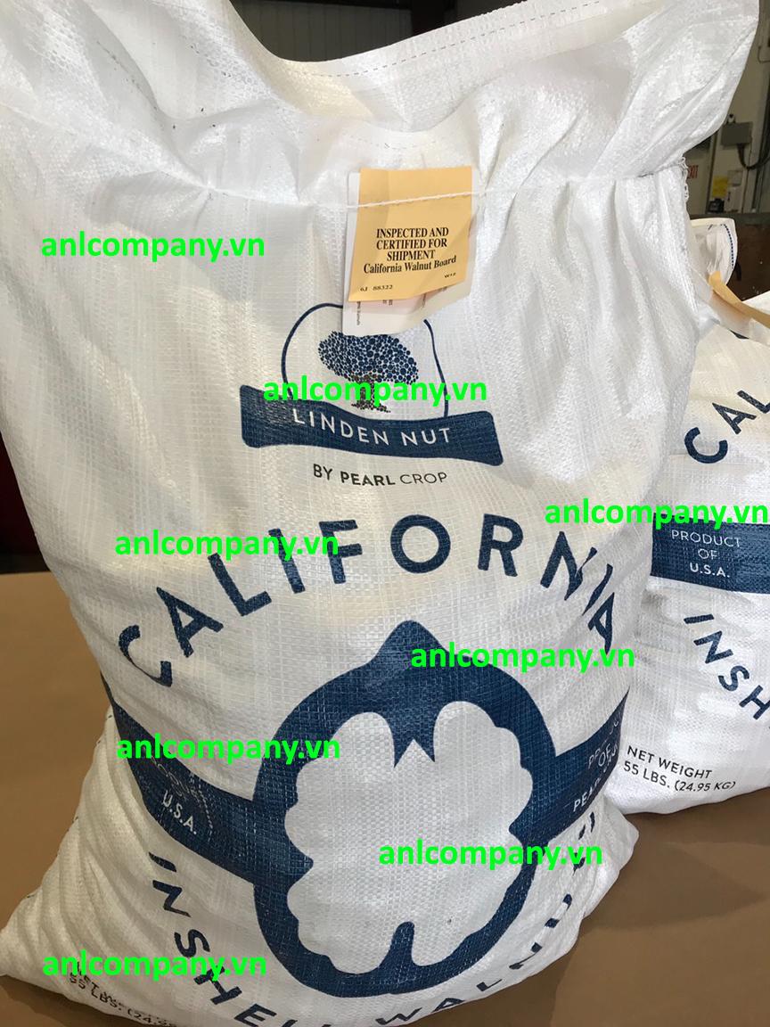 hạt óc chó Hartley được nhập khẩu từ Mỹ, xuất xứ California, quy cách đóng gói bao 25kg như hình