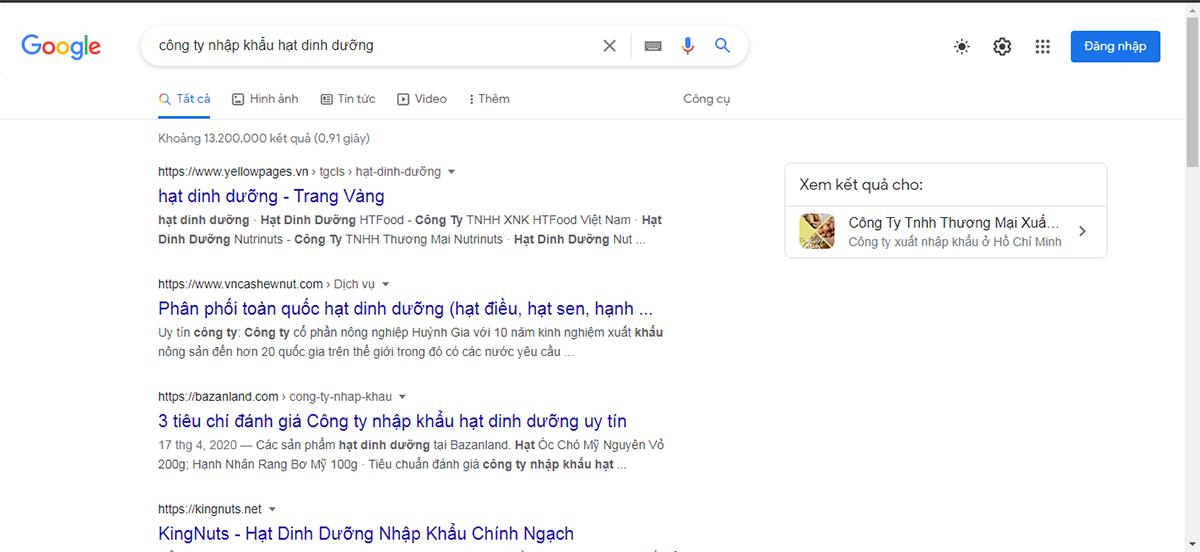 khi bạn tìm kiếm các công ty nhập khẩu các loại hạt dinh dưỡng trên Google