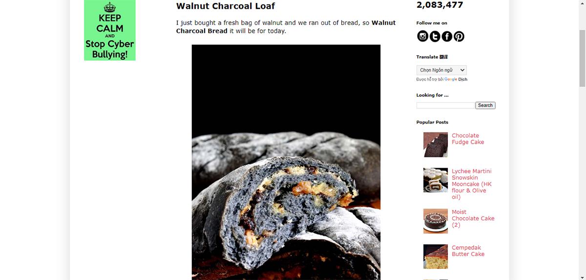 bánh mì tinh bột than từ vỏ quả óc chó